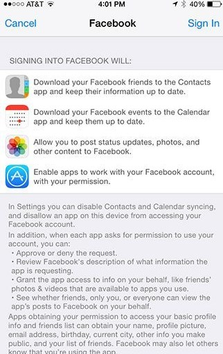 sync iphone contacts with facebook pictures
