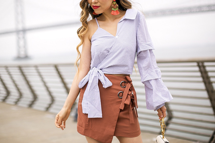 JOA one shoulder wrap top, bow top, JOA wrap mini skirt, bow skirt, elizaberth and cole tassel earrings, chloe nile bag, christian louboutin so kate pumps, chloe sunglasses, chloe bag, san francisco street style, san francisco fashion blog
