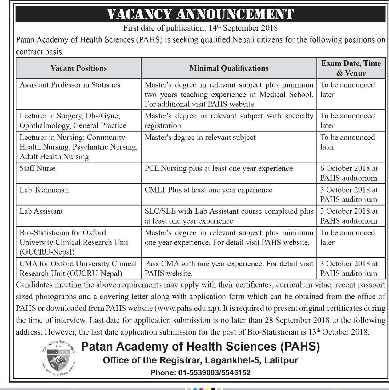 Patan Academy of Health Science Vacancy
