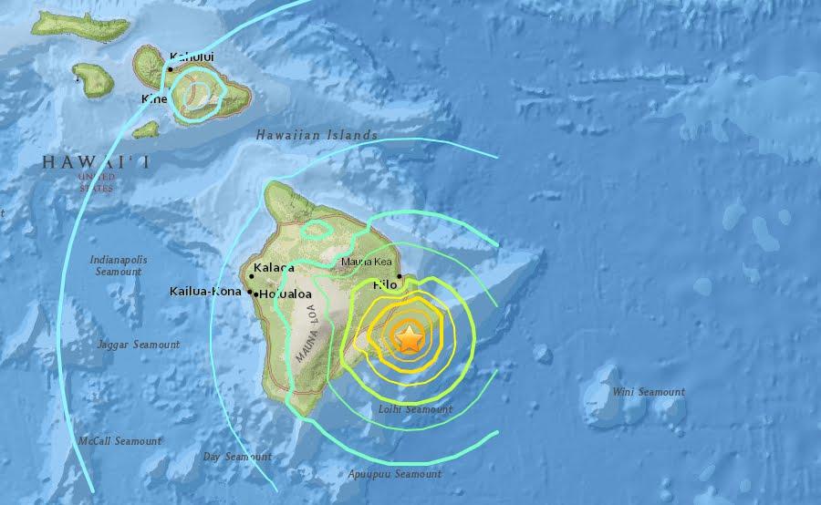 Violento Terremoto M6,9 alle Hawaii causato dal vulcano Kilauea. No rischio tsunami