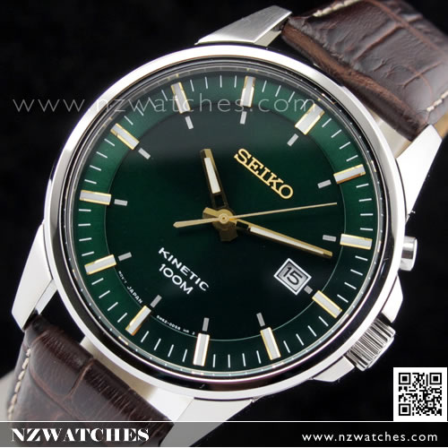 Seiko Kinetic Green Face Genuine Leather Strap Watch SKA533P1 ... 6ee0a9b75