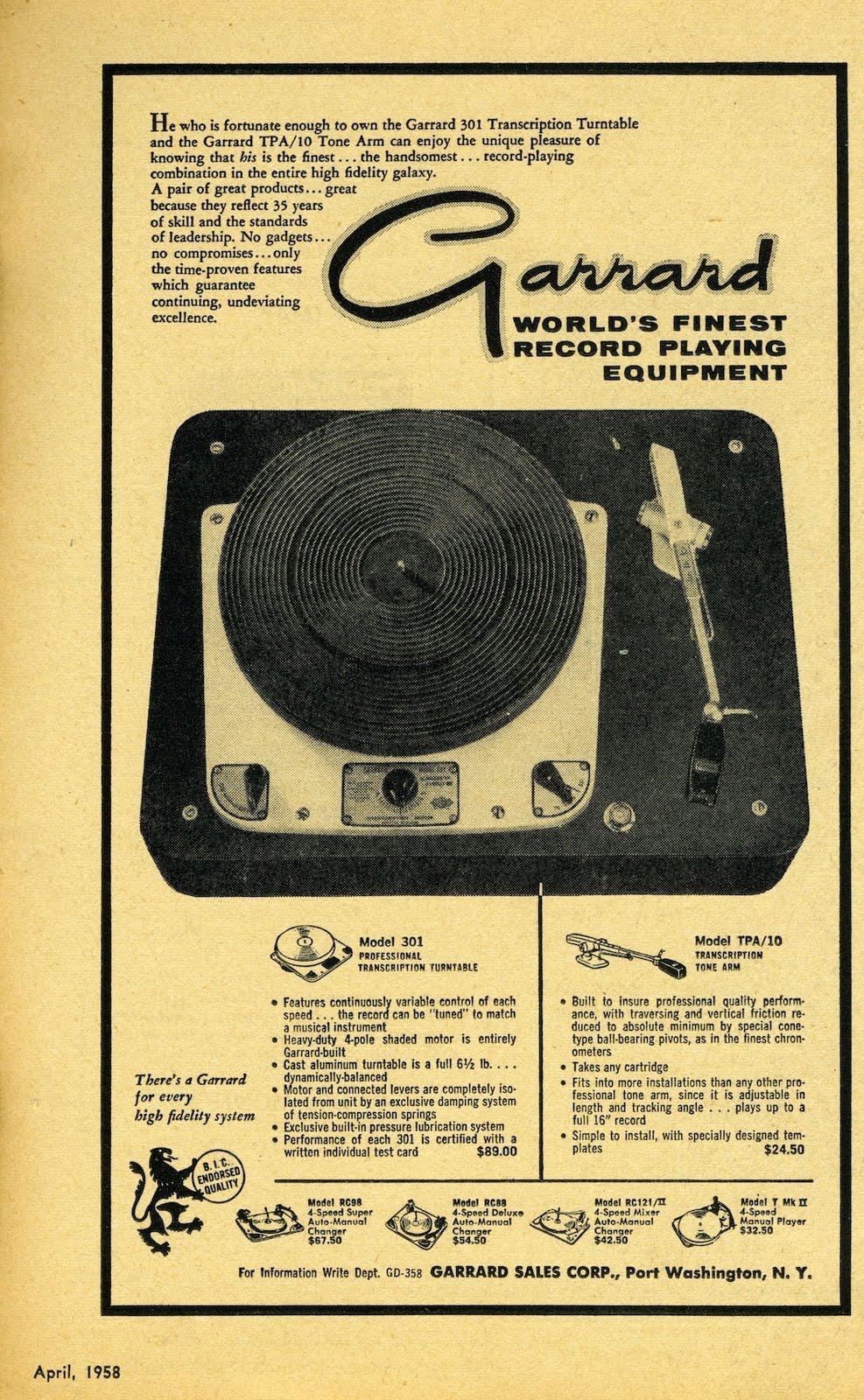 Retro Vintage Modern Hi Fi Garrard 301 Transcription