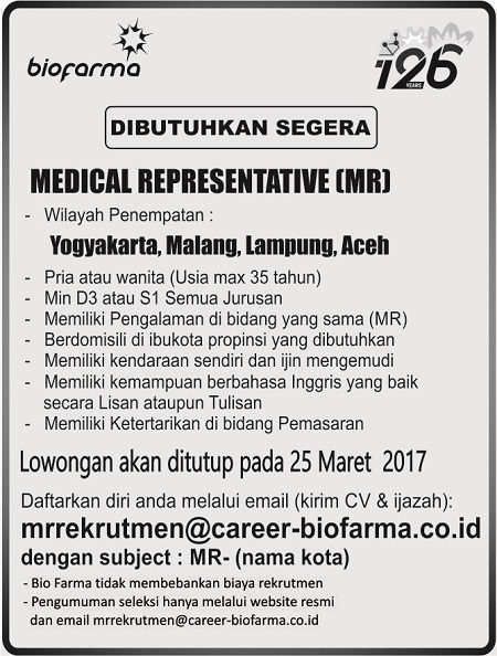 Medical Representative (MR) Biofarma