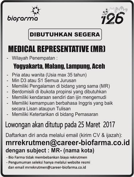 Medical Representative (MR) Biofarma