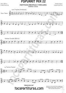 Partitura de Saxo Tenor Yankee Doodley, Las 3 hojitas, La Pastora Mix 22 Sheet Music for Tenor Saxophone Music Score
