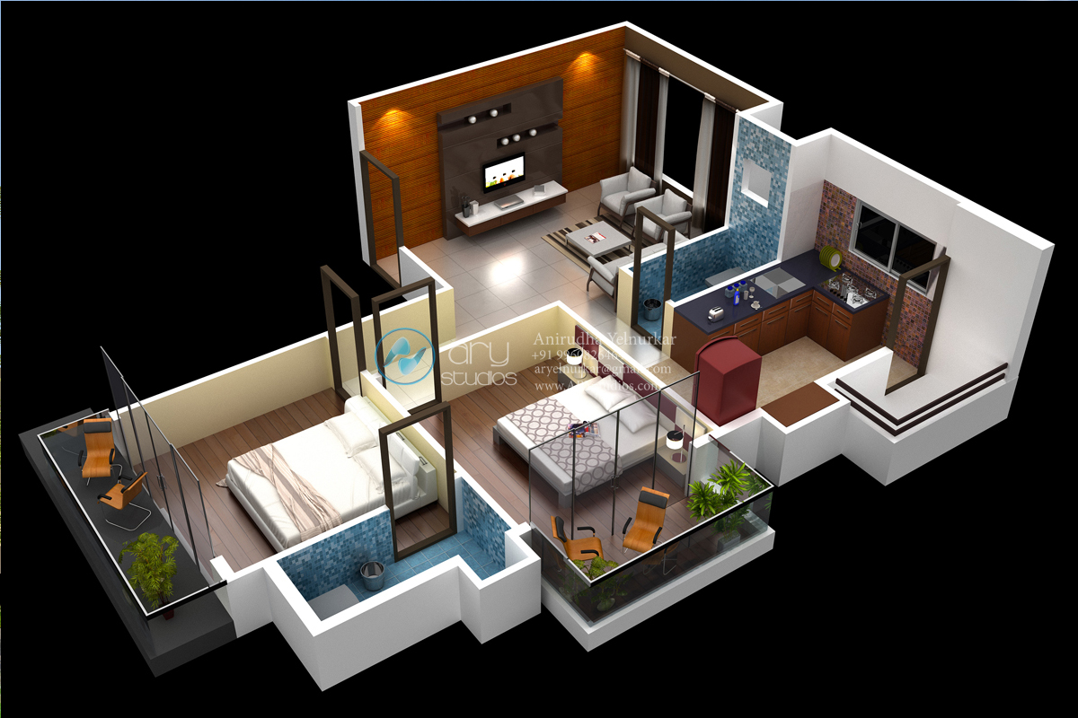 Stylish Home 3D Floor Plans