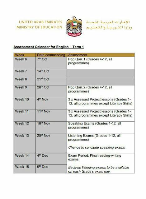 Assessment Calendar for English – Term 1 لجميع الصفوف