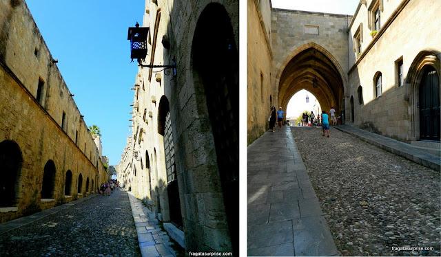 Rua dos Cavaleiros, alojamento dos membros da Ordem dos Cavaleiros de Rodes