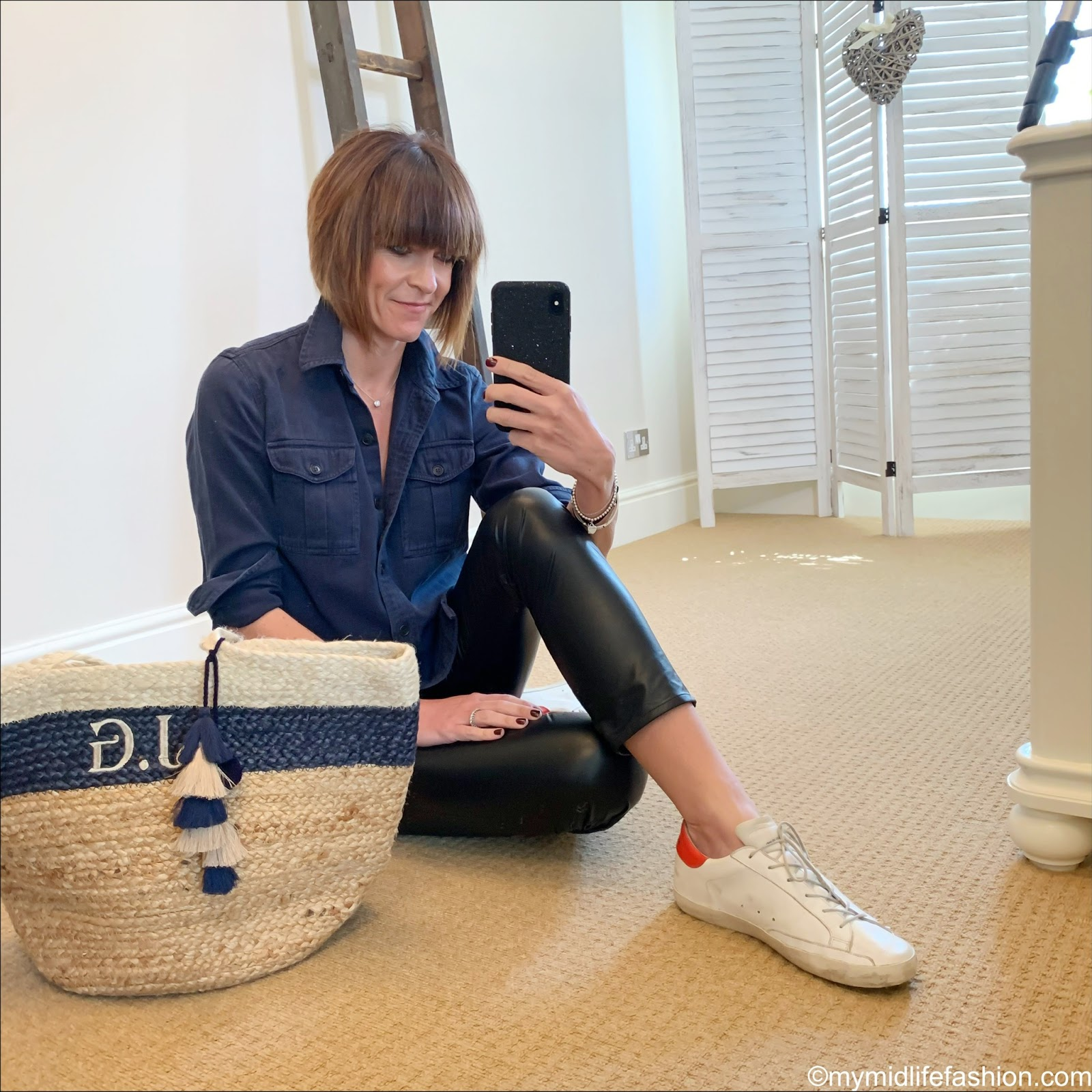 my midlife fashion, Isabel Marant Etoile shirt, initially London monogrammed jute bag, Isabel Marant Etoile faux leather trousers, golden goose superstar low top leather trainers