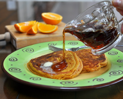 Carrot Buttermilk Pancakes ♥ AVeggieVenture.com, light and fluffy buttermilk pancakes with a surprise ingredient, a jar of carrot baby food. Another good reason to Make Tonight Pancake Night!