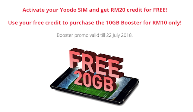FREE RM20 credit which equals to free 20GB!