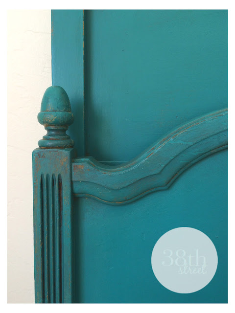 jenny lind bed, turquoise, chalk paint, florence annie sloan chalk paint, annie sloan clear and dar wax, refinished bed