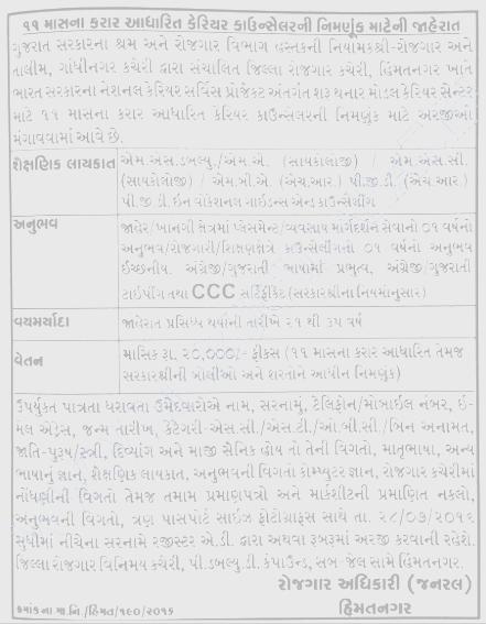 District Employment Office Himmatnagar Recruitment for