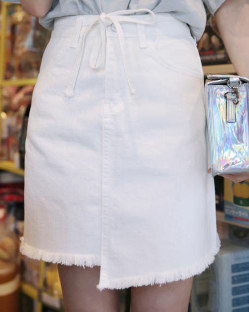 Fringed Self-Tie Belt Skirt