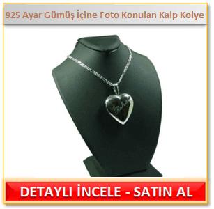 925 Ayar Gümüş İçine Foto Konulan Kalp Kolye