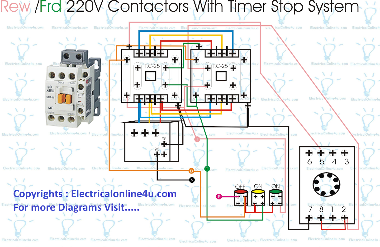 small resolution of forward reverse starter with timer 3 phase motor wiring diagram