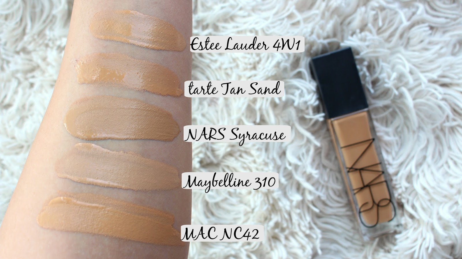 cfd6f1c9b14f5 Samantha Jane  NARS Natural Radiant Longwear Foundation Swatches