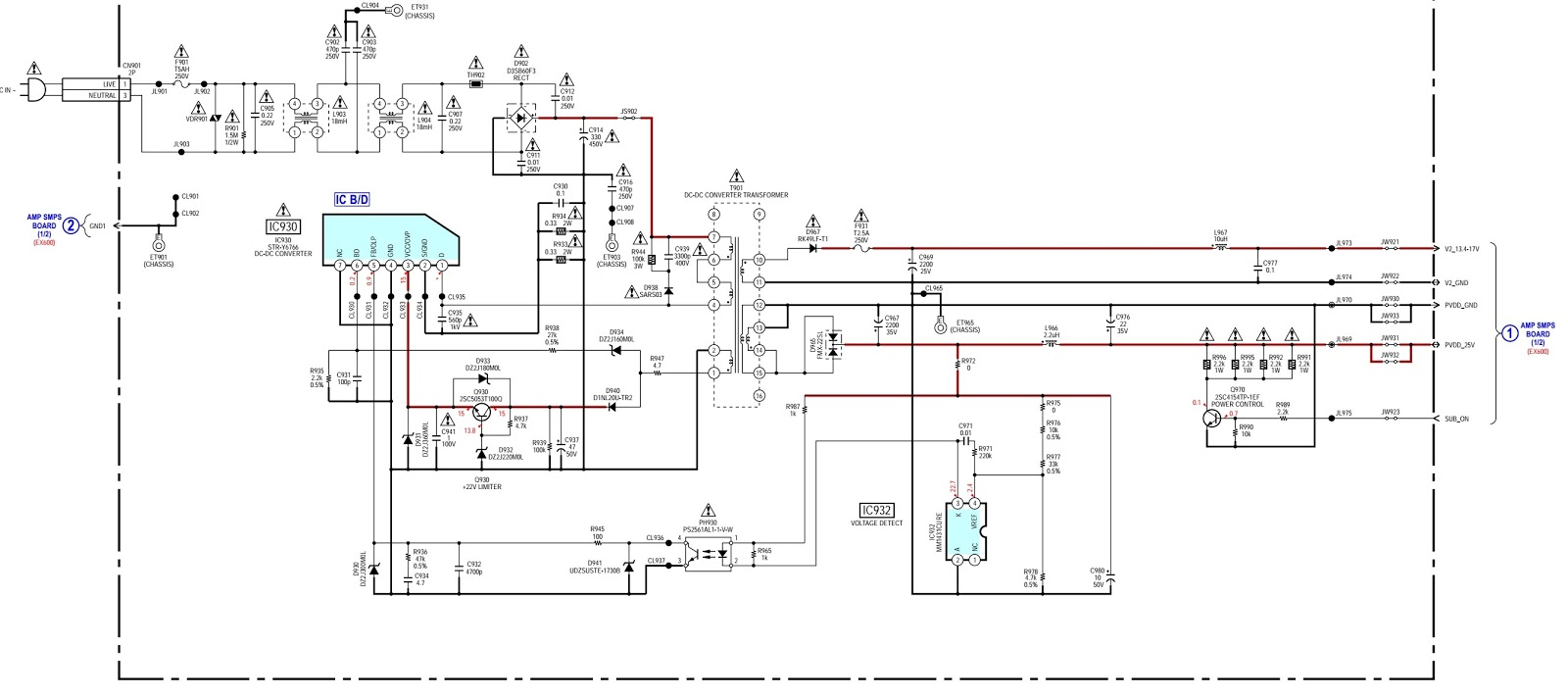 sony hcd ex600  u2013 smps and amplifier circuit diagram