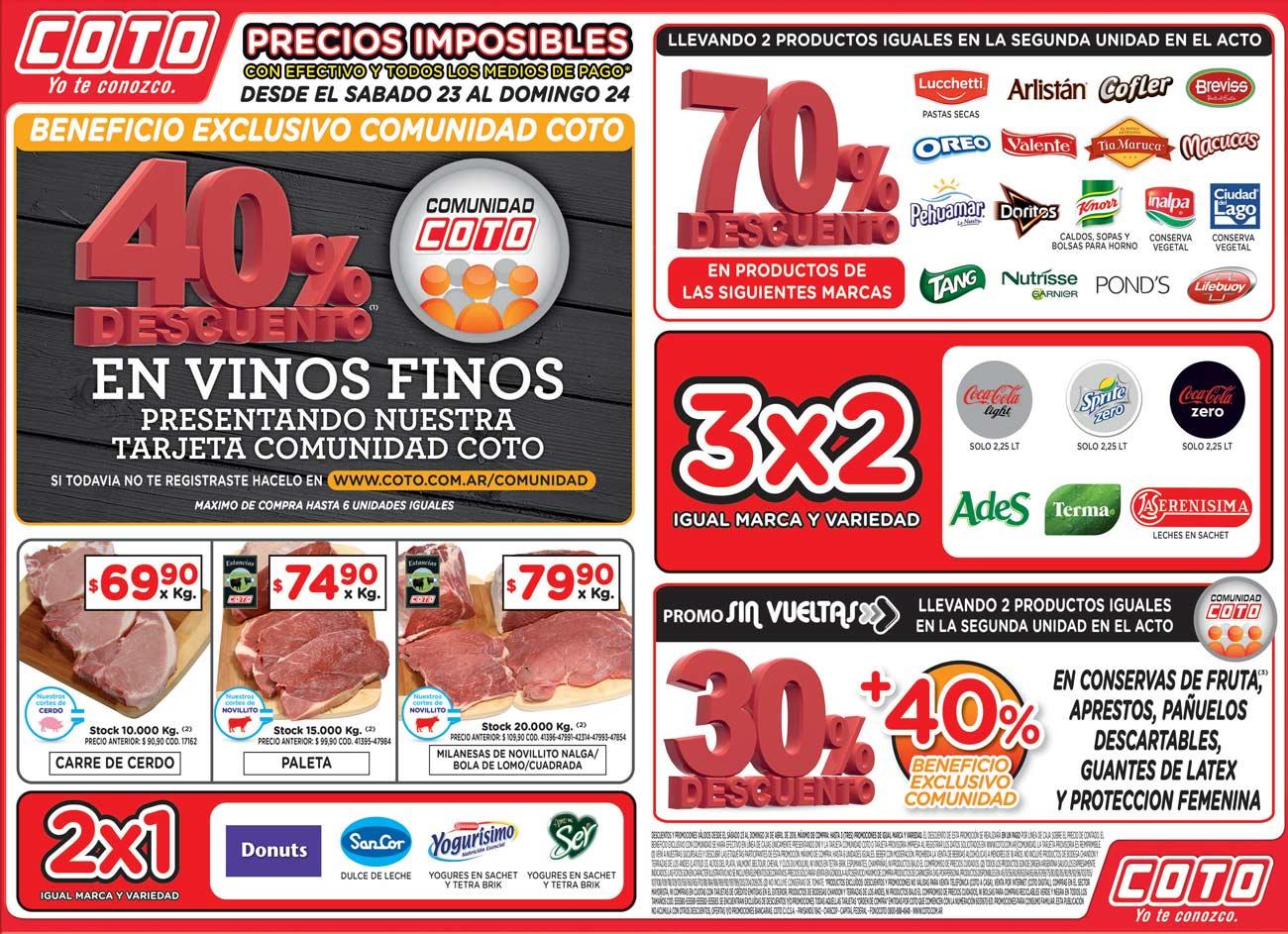 c84033e5d Ofertas COTO fin de semana: Exclusivo Comunidad Coto: 40% de descuento  Vinos Finos. 2x1 Donuts, dulce de leche Sancor, yogures sachet y tetra brik  ...