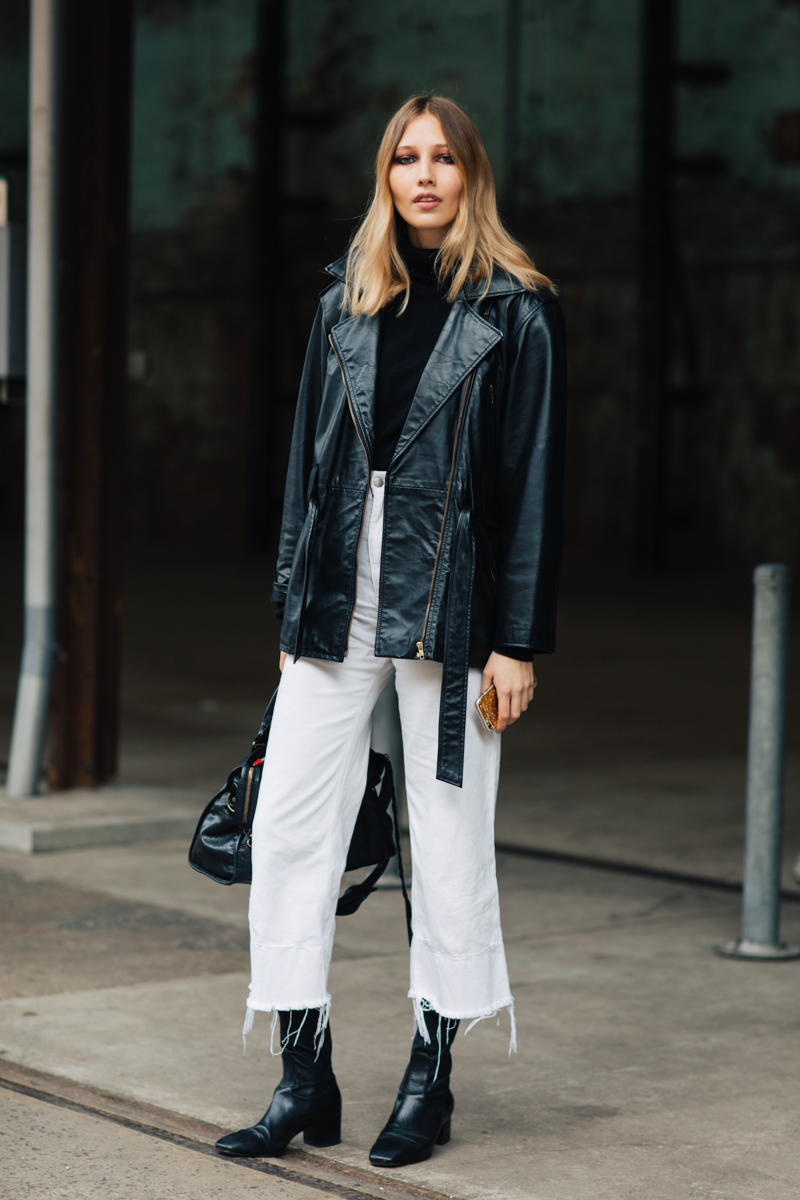 A Downtown-Cool Way to Wear White Jeans for Winter