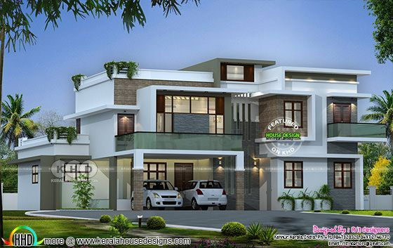 Flat roof contemporary 4 bedroom home