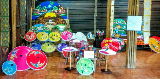 Traditional colorful umbrellas from the northern part of Thailand