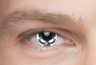 black and white contact lenses of skulls for halloween costumes or cosplay for gothic or goth or steampunk costumes