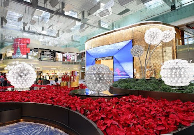 Source: Changi Airport Group. The new Central Piazza includes a Louis Vuitton duplex store and a Crystal Garden with a dandelion theme.