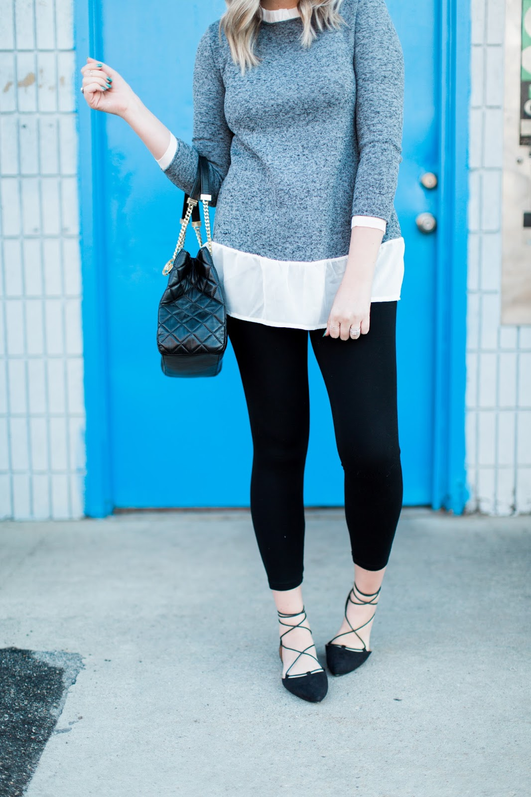Cute spring Outfit, Lace up Flats, Black Pants