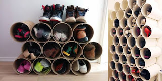 ideas para organizar el calzado con caños de PVC