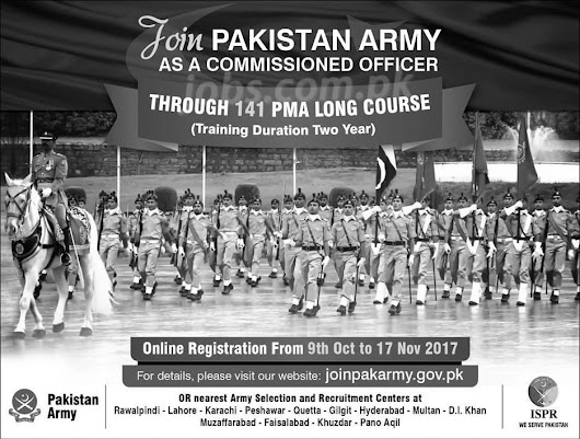 Join Pakistan Army as Commissioned Officer through 141 PMA Long Course – Last Date to Register 17th November 2017 LATEST PAK JOBS | LATEST JOBS