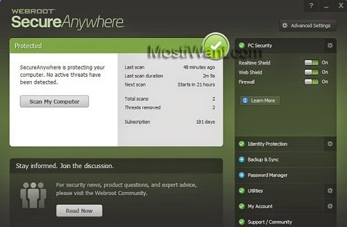 Webroot SecureAnywhere AntiVirus 2015 KeyCode for Mac