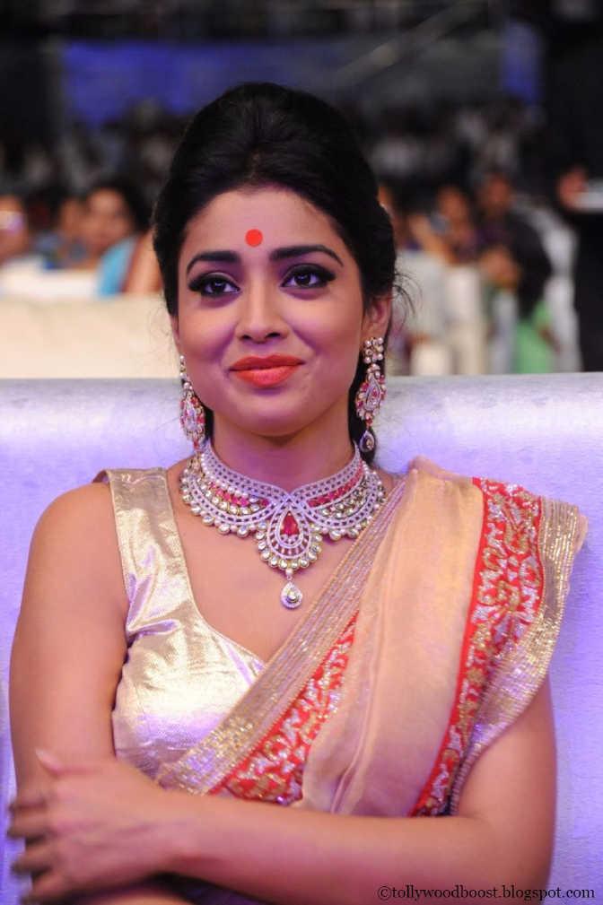 Telugu Actress Shriya Saran Stills In White Traditional Saree