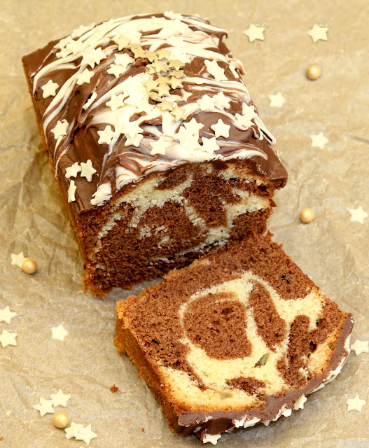 A slice of chocolate marble loaf cake