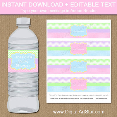 spring baby shower water bottle labels