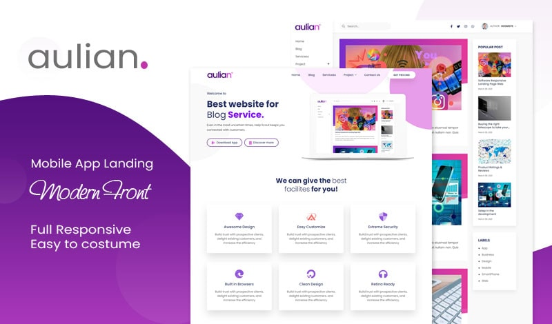 Aulian Landing Page Responsive Blogger Template
