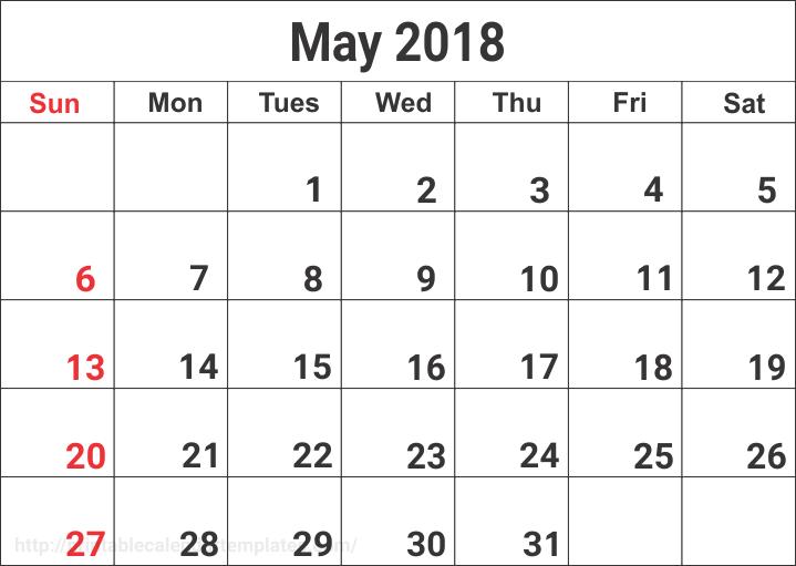 blank may calendar 2018