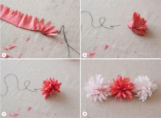 fino all'ultimo filo e un po' di più: fiori di stoffa per decorare