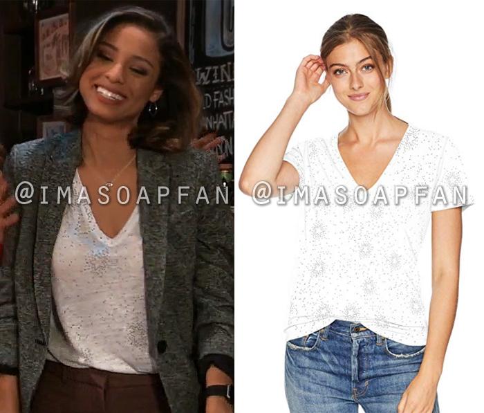 Valerie Spencer, Brytni Sarpy, White Star Print V-neck T-shirt, General Hospital, GH