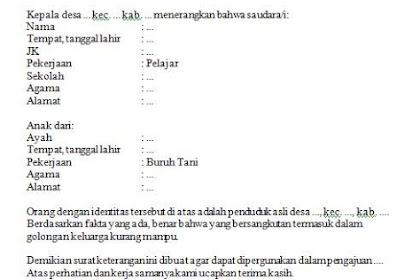 Surat Keterangan Tidak Mampu dari Desa atau Kelurahan