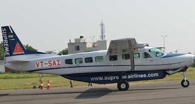 Jaipur, Rajasthan, Sanganer Airport, State Hanger, Intra-state air service, Tourism, Chief Minister of Rajasthan, Vasundhara Raje, 9 seater Cessna Caravan-C 208B aircraft, Supreme Airlines
