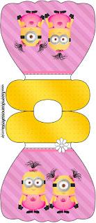 Tarjeta con forma de vestido de Minions Chicas.