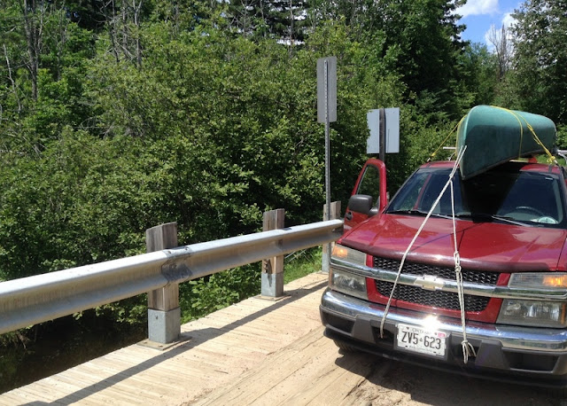 Our canoe laden, loaded truck, headed for Bonnechere Park