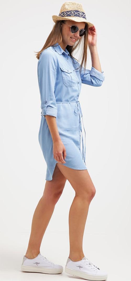 Robe courte d'été bleue en jean Miss Selfridge