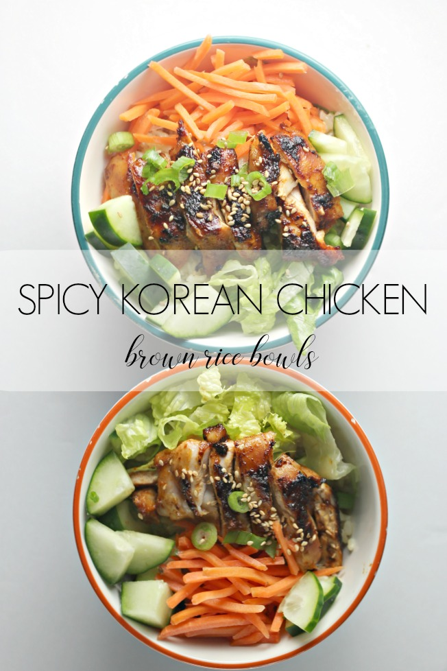 Spicy Korean Chicken Brown Rice Bowls