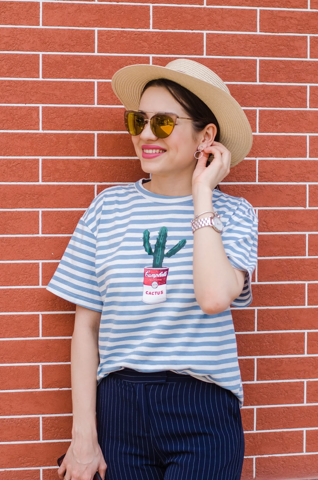 fashion blogger diyorasnotes diyora beta lookoftheday summer outfit 2017 striped pants striped tshirt white mules
