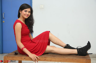 Mounika Telugu Actress in Red Sleeveless Dress Black Boots Spicy Pics 004.JPG