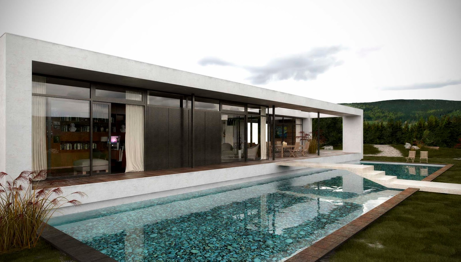Free sketchup 3d model house with pool 37 and vray visopt for Homes by andre