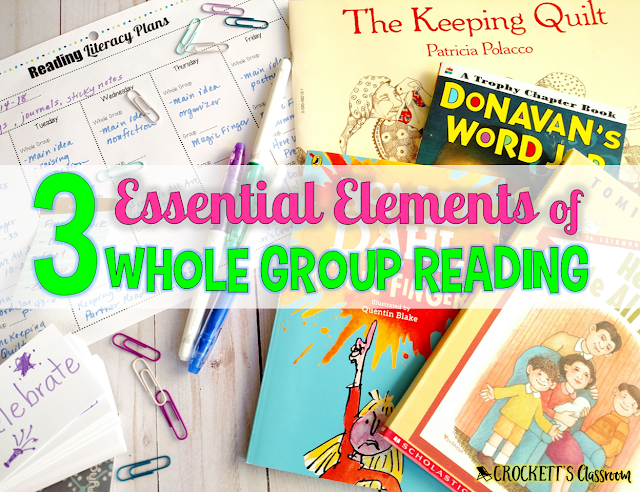 The 3 essential elements of whole class reading lessons in a literacy block.  Whole class lessons are the starting point in your literacy block.  It's when you introduce important skills, strategies, and procedures to your class.  Learn more about the 3 elements that should be in every whole class reading lesson.