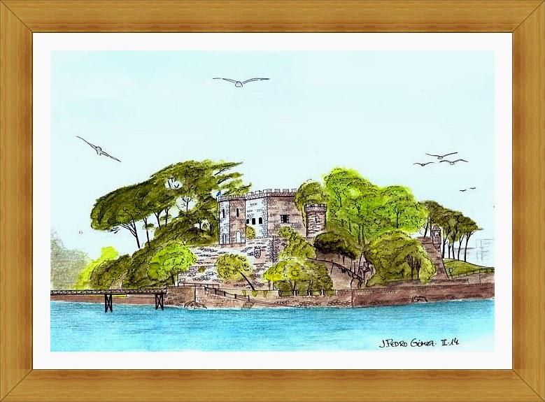 castillo santa cruz Oleiros A Coruña, plumilla acuarela dibujo pintura arte